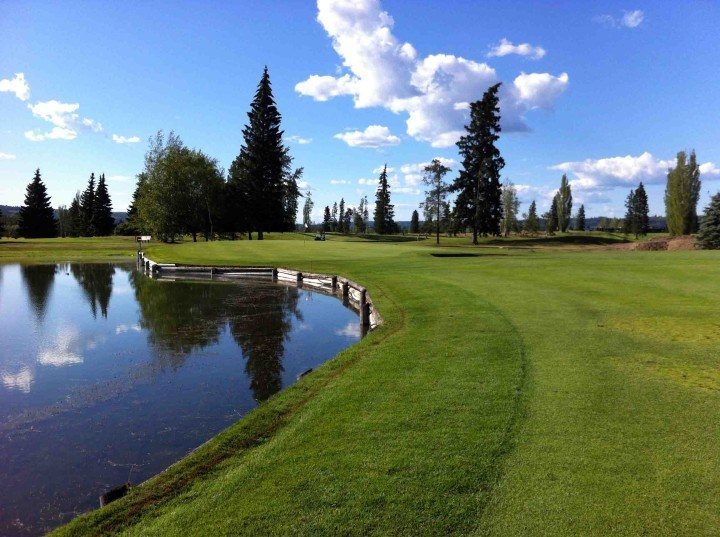 The eighth hole at Prince George Golf & Curling Club is one of the most scenic holes on the course as its green is surrounded by water (via Prince George Golf & Curling Club)