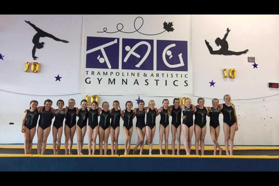 Prince George Gymnastics' Interclub group poses for a phot at the 2019 TAG Invitational Meet in Port Coquitlam (via Facebook/Prince George Gymnastics)