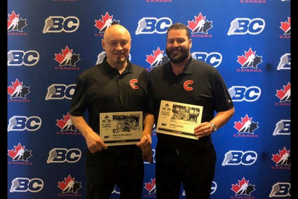 North Central Bobcats Head Coach Mirsad Mujcin (left) and Cariboo Cougars General Manager Trevor Sprague with their Vancouver Canucks Silver Skate Awards (via Cariboo Cougars)