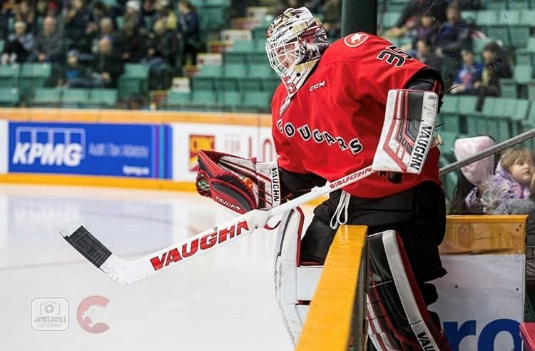 Taylor Gauthier (#35) steps onto the ice in his team's new alternate red sweater at the CN Centre (via Prince George Cougars/James Doyle Photography)