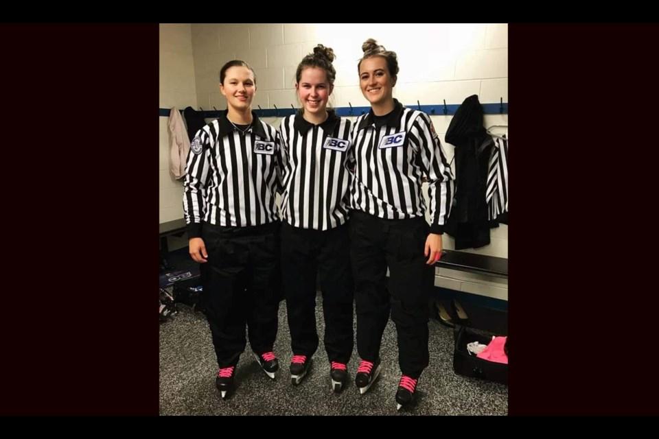 [From left to right] Prince George hockey referees Danika Kroeker, Grace Barlow, and Melissa Brunn (via Facebook/Melissa Brunn)