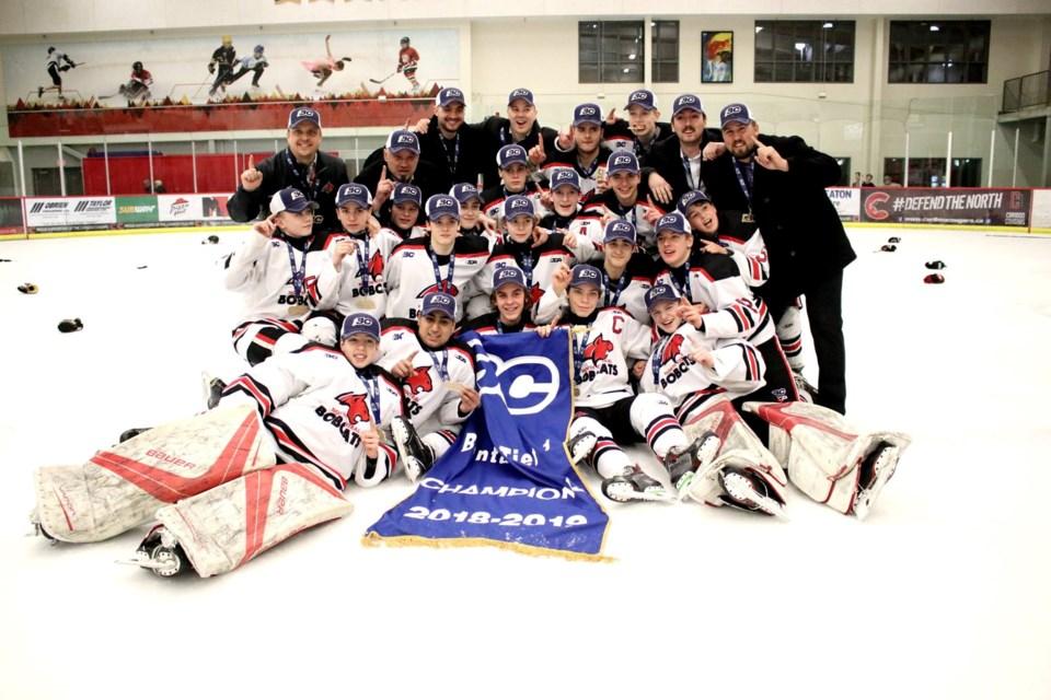 North Central Bobcats of Prince George win the 2018-19 Bantam Hockey Provincial Championships at the Kin Centre (via Chuck Chin Photography)