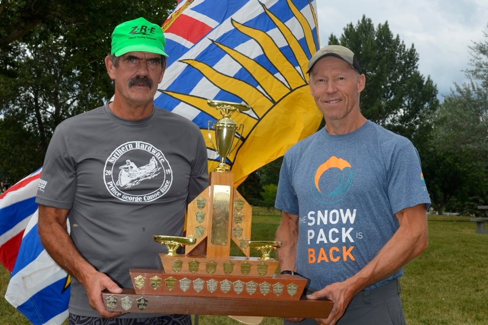 Tom Blackburn and Harry James are the 2019 champions of the Northern Hardware Prince George Canoe Race (via Facebook/Chris Budac)