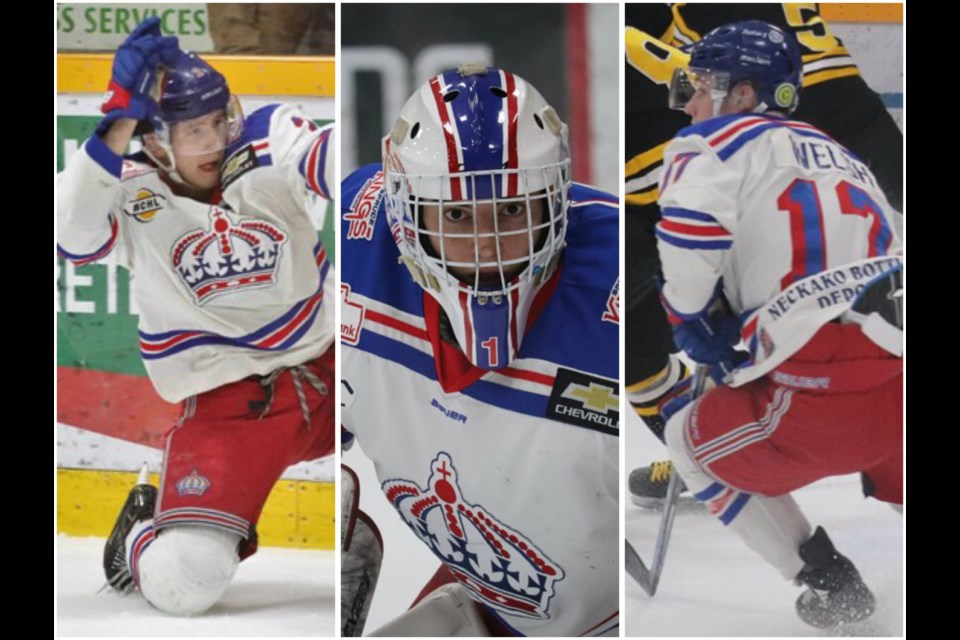 [From left to right] Defenceman Layton Ahac, Goaltender Logan Neaton, & Forward Nolan Welsh of the Prince George Spruce Kings (via Kyle Balzer)