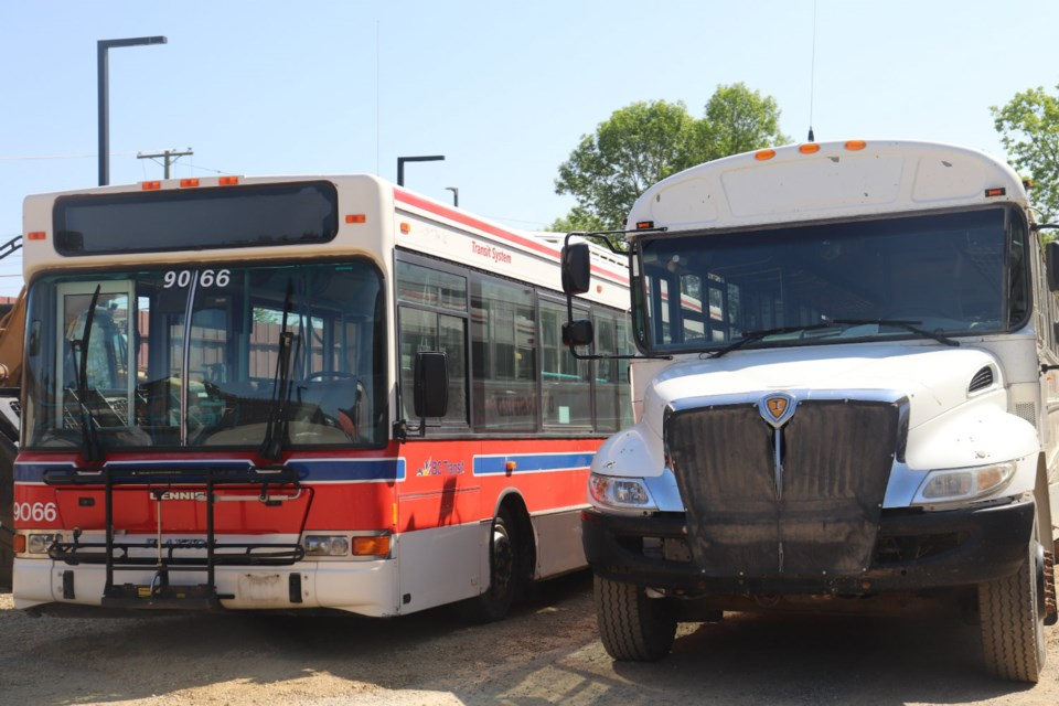 B.C. Transit and Pacific Western Transit donated these ageing buses to CNC's Heavy Mechanical Trades program (via Kyle Balzer)
