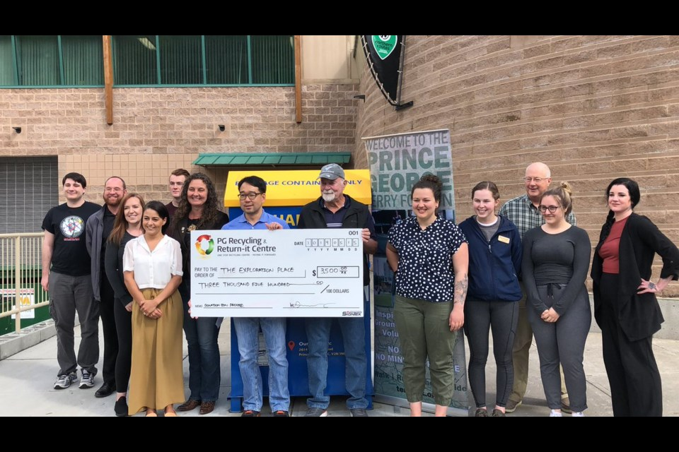 Exploration Place accepts $3,500 donation from Prince George Recycling, which helped keep the Terry Fox exhibit in its facility for one more month (via Kyle Balzer)