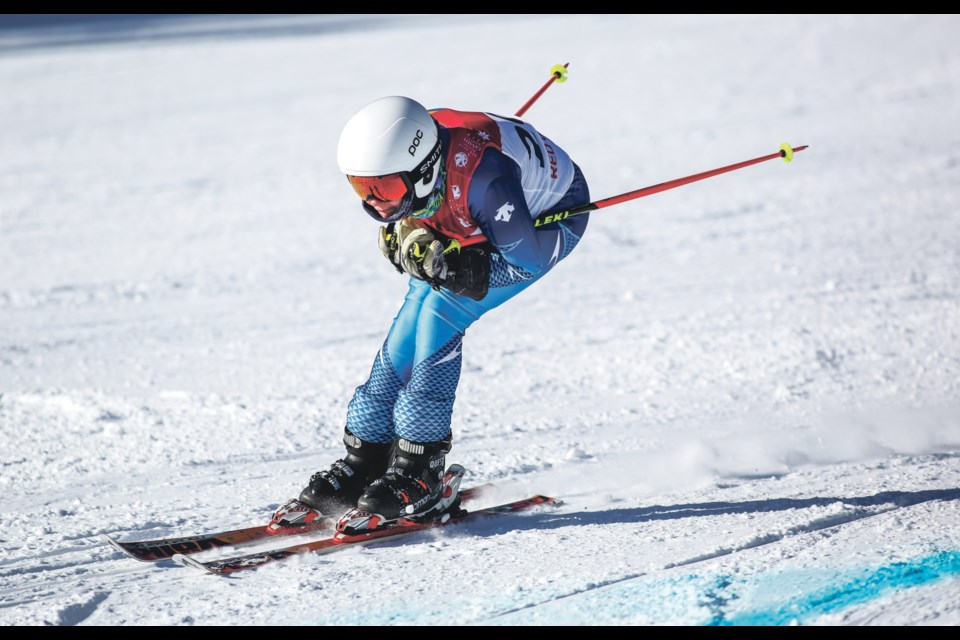 Canmore's Anya Morgan races in the female para-alpine Giant Slalom race at the Canada Winter Games at Nakiska Ski Resort in February. Morgan is one of the athletes developing her skills with Rocky Mountain Adaptive. Aryn Toombs RMO file photo