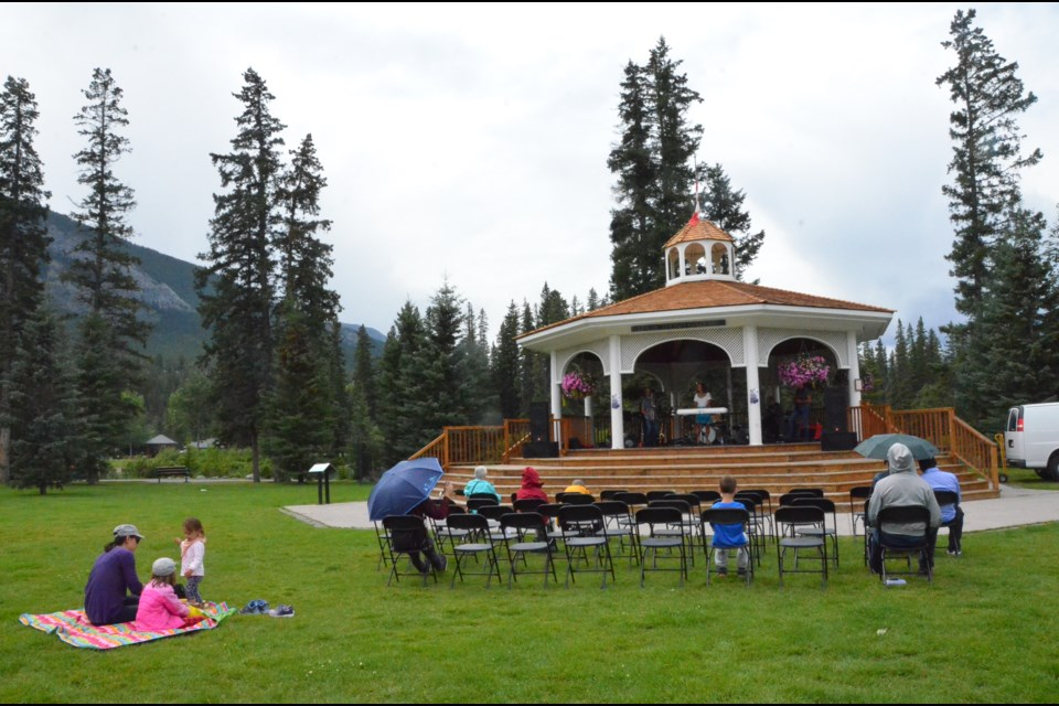 While this year's tribute concert to Louis Trono at the gazebo in Banff's Central Park was a bit of a rainy affair, many showed up to pay homage to the local legend of the big band era. CECILE LEPAGE PHOTO