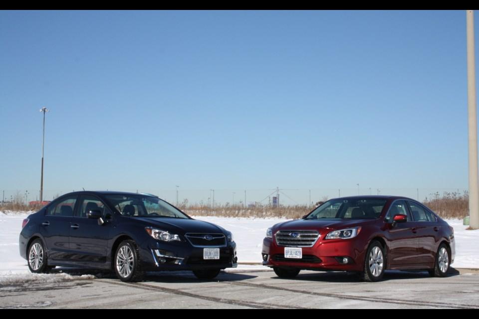 2016 Subaru Impreza and 2016 Subaru Legacy, ready for their road trip to Muskoka. Credit Michel Deslauriers