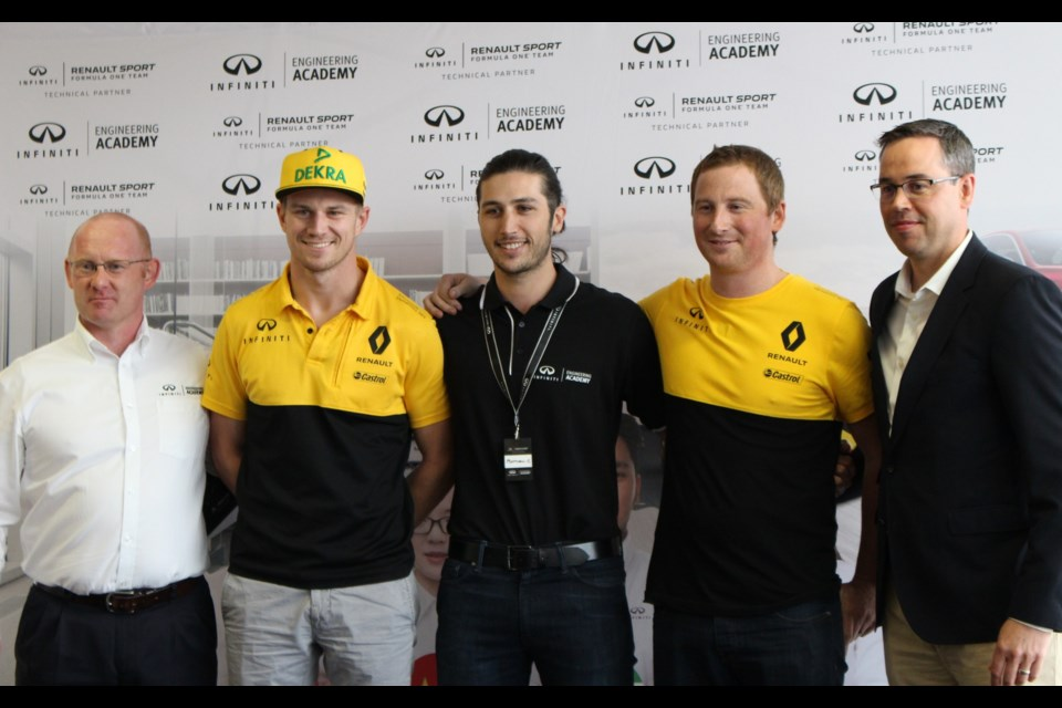 Matthew Crossan, at centre, Canadian winner of the 2017 Infiniti Engineering Academy. Credit Michel Deslauriers