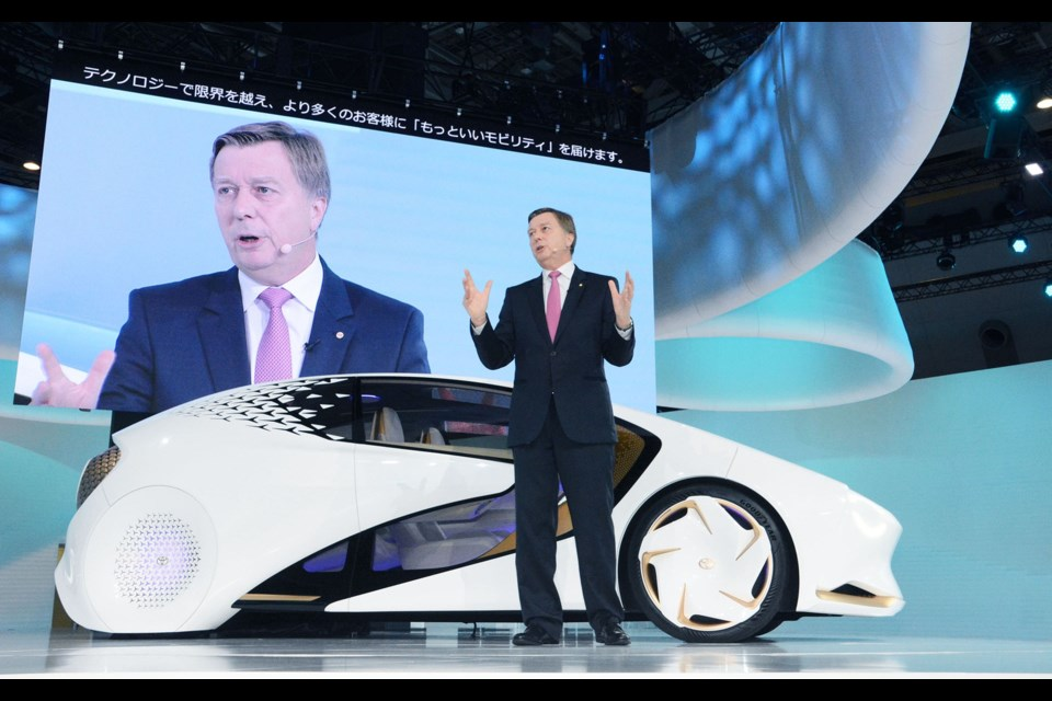 Didier Leroy, Executive Vice-President at Toyota, presented the company's vision of sustainable mobility at the Tokyo Auto Show. Credit Toyota