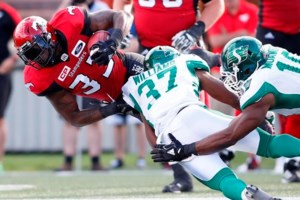 Jerome Messam cracks 100-yard mark, Stampeders beat Roughriders 27-10