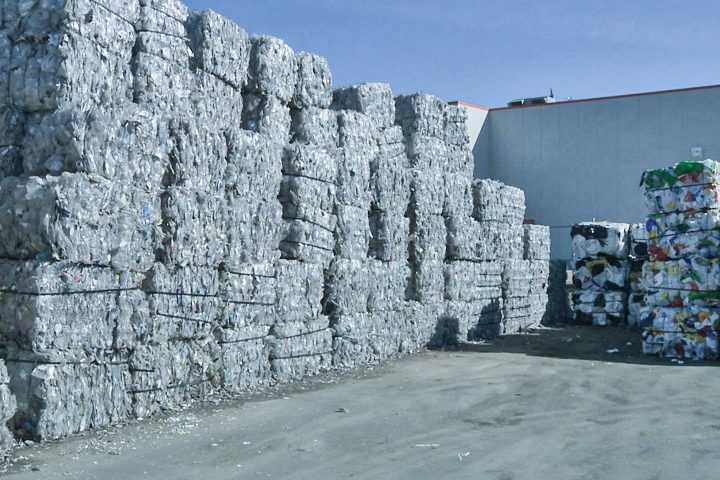 Bales of recycling are kept at a Loraas recycling centre. The company in Saskatchewan is stockpiling plastic bags and certain plastic containers since the recycling market worldwide is no longer accepting those materials. File photo