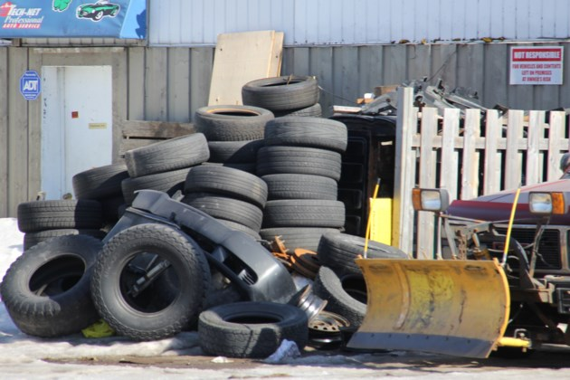 USED 2019-04-11goodmorning  4 A pile o' tires. Photo by Brenda Turl for BayToday.