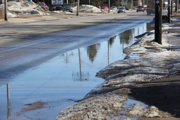 USED 2019-04-11goodmorning  7 Puddle reflections on Lakeshore Drive. Photo by Brenda Turl for BayToday.