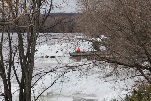 USED 2019-05-9goodmorning  6 Red chair, ice pile. Photo by Brenda Turl for BayToday.