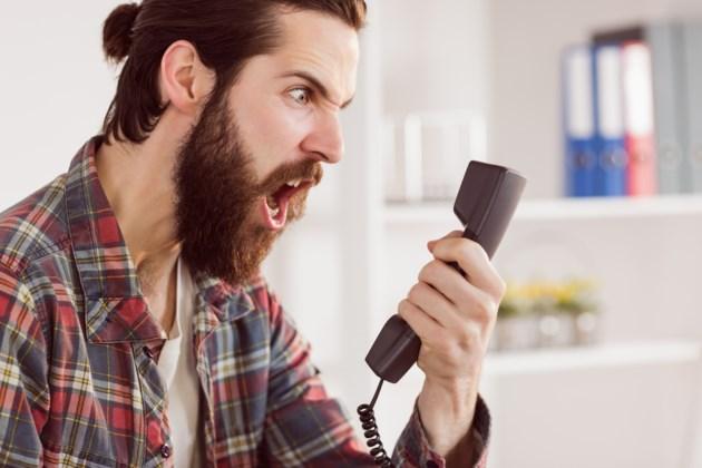 exasperated phone