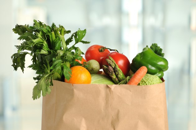 groceries vegetables paper bag stock