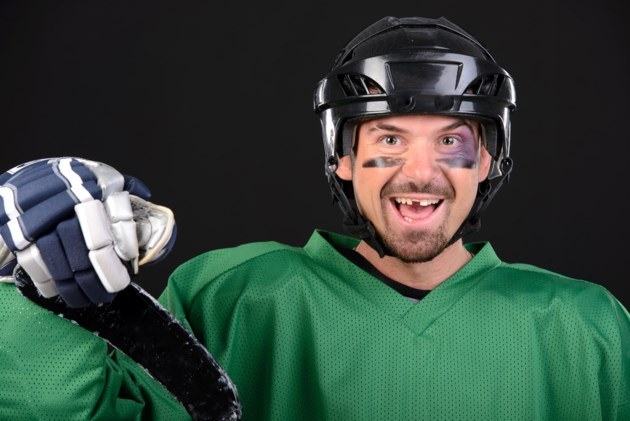 hockey player teeth stock