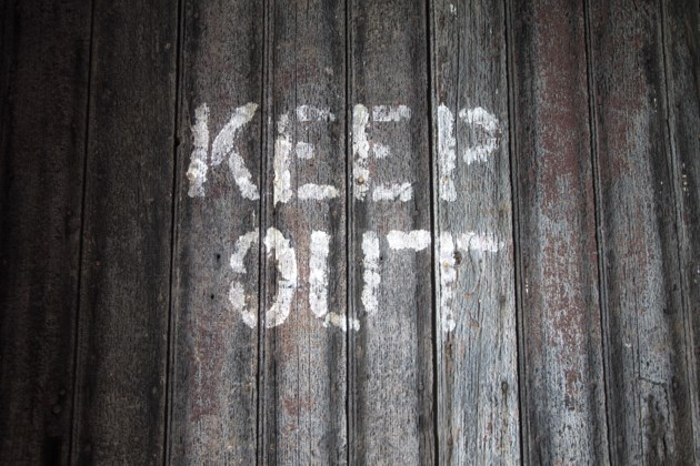 keep out sign wood stock
