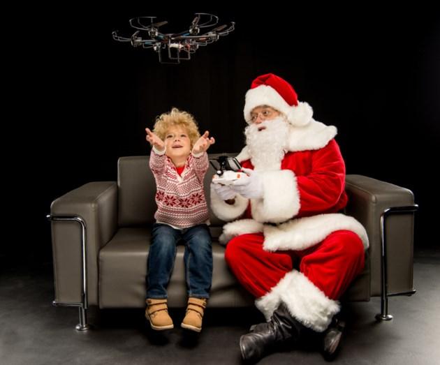 santa using drone stock