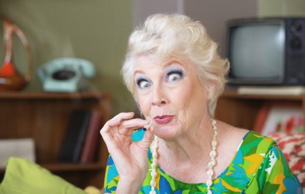 senior smoking weed stock