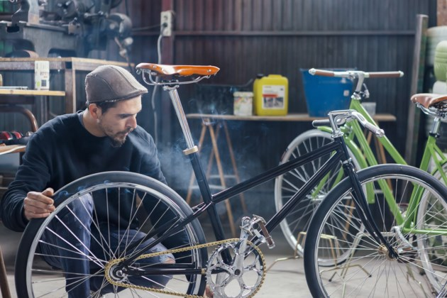 smoking workplace bicycle stock