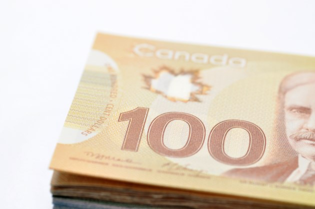 Stack of Canadian cash