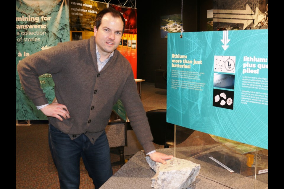 """Trevor Walker, the president and CEO of Frontier Lithium is expecting a productive year for the company's high grade """"Electric Avenue"""" lithium property in Northwestern Ontario. Walker was able to show off some of Frontier's lithium samples earlier this year at a display at Sudbury's Dynamic Earth."""