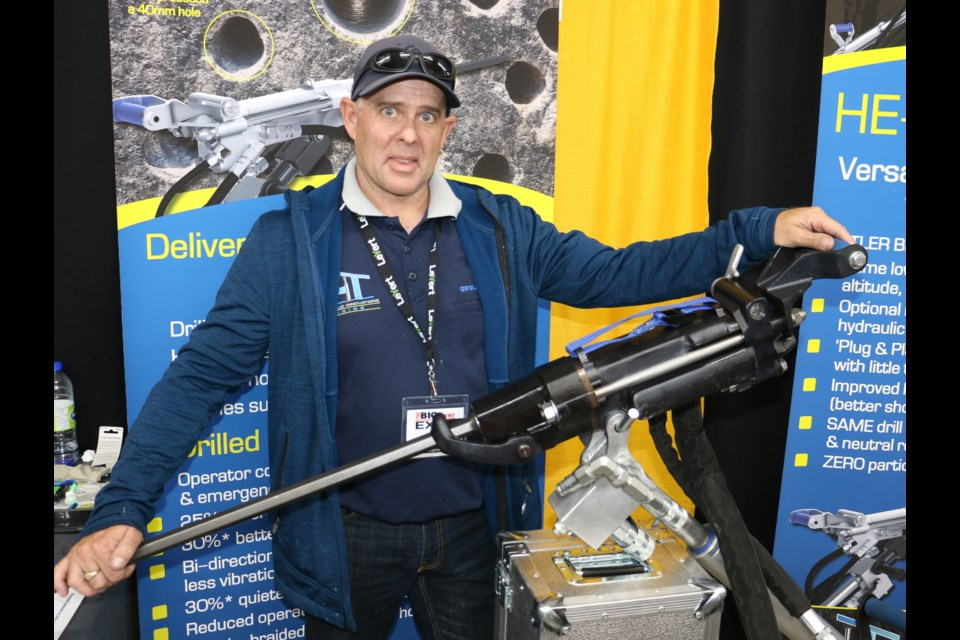 Kerry Scott, the CEO of Hydraulic Innovations Mining, posed with one of his new hydraulic powered jackleg drills, while he was participating at the Big Event Mining Expo in Timmins in June.