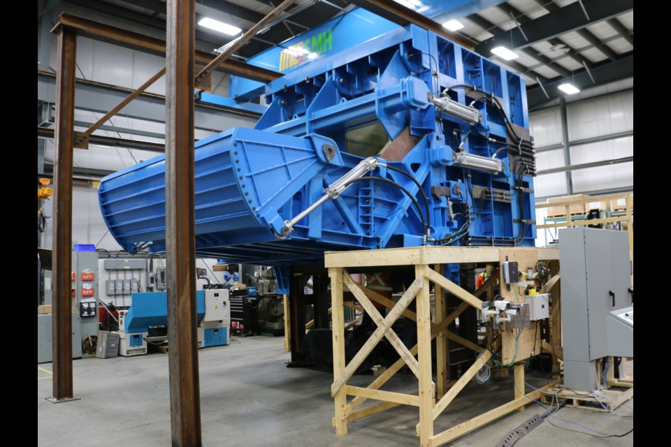 The prototype version of the new mining chute created by Variant Mining Technologies in Sudbury to be installed at the Oyu Tolgoi copper mine in Mongolia.