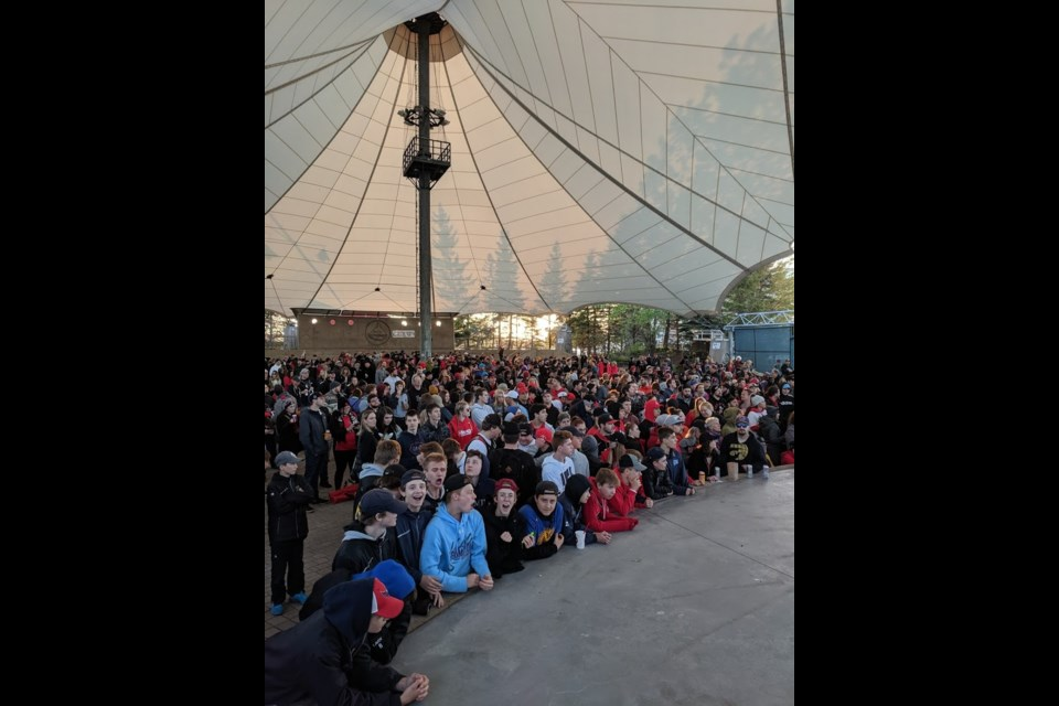 Raptors fans gather at the Roberta Bondar Pavilion to watch Game 5 of the NBA Finals between the Toronto Raptors and the Golden State Warriors