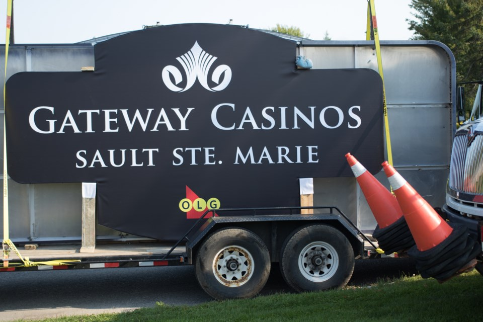 The new Gateway Casinos Sault Ste. Marie sign before being installed on Monday, September 11. Jeff Klassen/SooToday