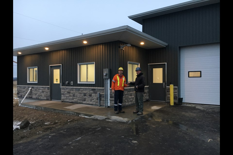 Left to Right – Allen Haner, Group Leader, Desbarats Lines Department and Spencer Young, Thomas Young Builders. Submitted photo