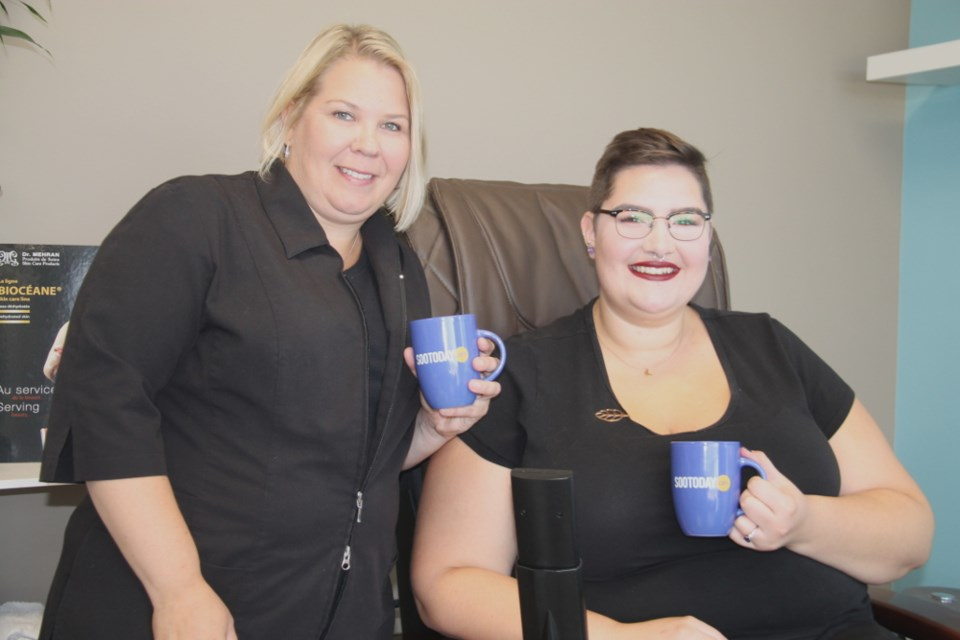 Melissa Iannelli and Stephanie Wilson of Bliss Spa with their SooToday mugs, Oct. 4, 2017. Darren Taylor/SooToday