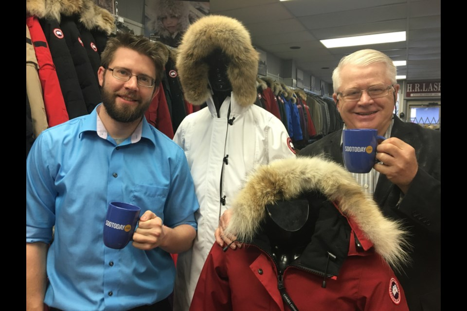 Herb Lash Jr. and Herb Lash Sr. of H.R. Lash with a pair of SooToday mugs and high-quality clothing, Nov. 1, 2017. Darren Taylor/SooToday
