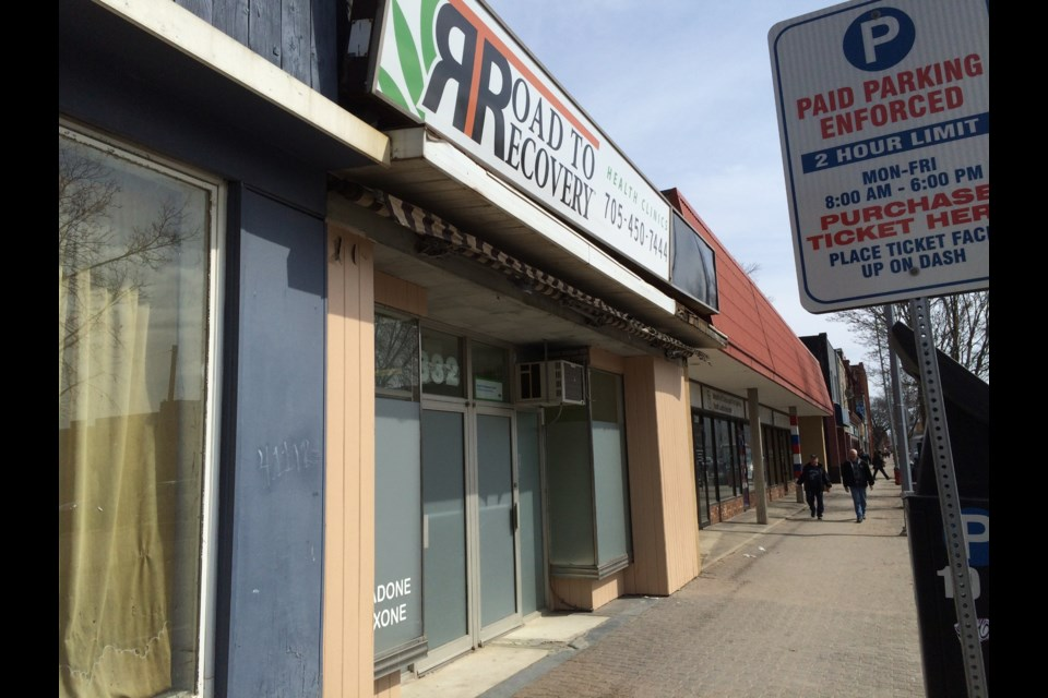 Located at 332 Queen Street East, between Mann Florist and the Ministry of Children and Youth Services, the Road to Recovery Health Clinic will dispense methadone and suboxone to patients dependent on morphine, heroin, oxycodone and other opioid drugs. Photo by David Helwig/SooToday.