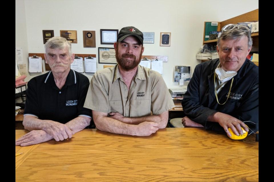Dave Cartmill, Craig Cartmill and Evan Jones of Lock City Monuments, April 11, 2019. Darren Taylor/SooToday