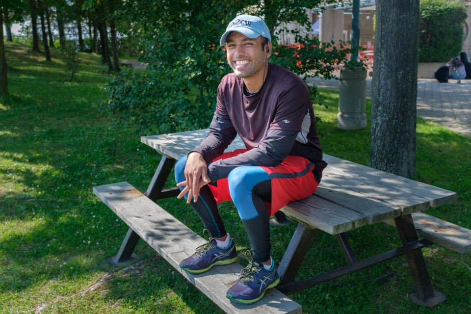 Hasan Syed is travelling from Vancouver to Ottawa, to raise awareness that many First Nations communities don't have clean drinking water. Syed was in Sault Ste. Marie on Sunday, August 13. Jeff Klassen/SooToday