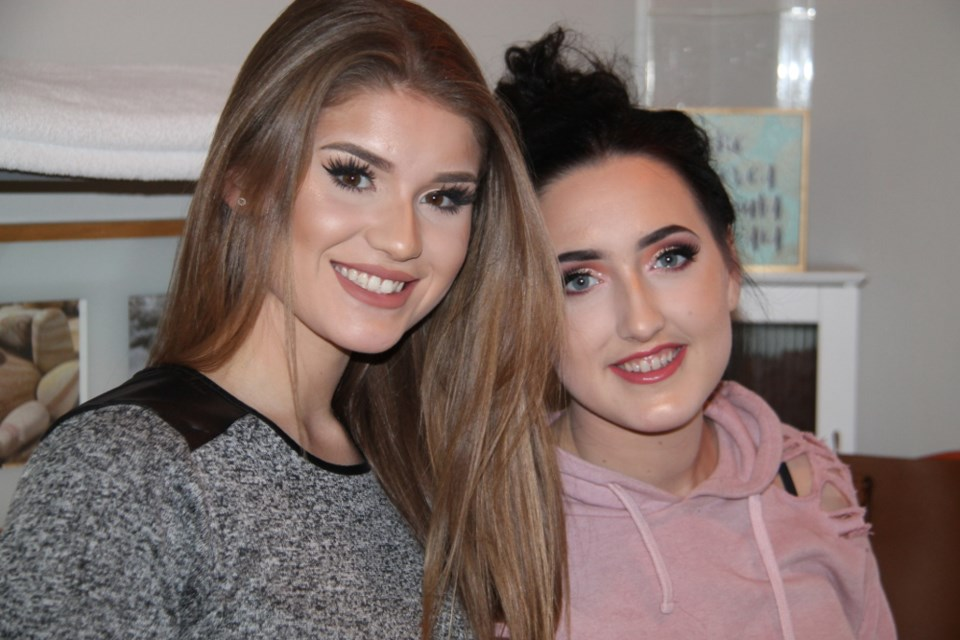 Iesha Godbout, makeup artist (at left), who will be offering free makeovers to young local women wanting to look and feel their best for high school proms this June, with client Sara Eastman after Sara received a free makeover from Iesha, Feb. 12, 2018. Darren Taylor/SooToday
