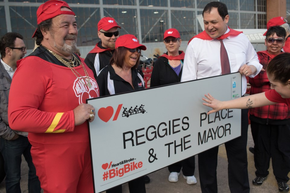 Mayor Christian Provenzano teamed up with Reggie's Place bar to ride the 'Big Bike' and raised $3178 for the Heart and Stroke Foundation of Canada on May 4, 2017. Jeff Klassen/SooToday