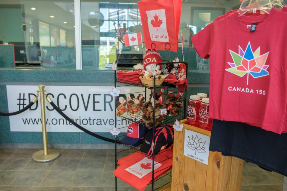 Canada 150 items are for sale and partially cover the former currency exchange at the Sault Ste. Marie Ontario Travel Information Centre. Since the closing of the currency exchange in November 2016, no Travel Information Centres in Ontario have had currency exchanges. Jeff Klassen/SooToday