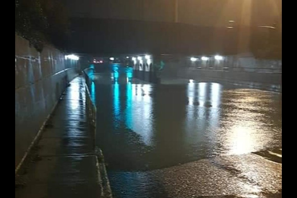 Flooded underpass on Wellington West Wednesday night. Photo submitted by Jenn Kaustinen