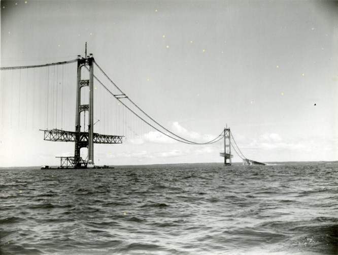 The Mackinac Bridge is pictured during construction. Sault Ste. Marie Public Library archive photo