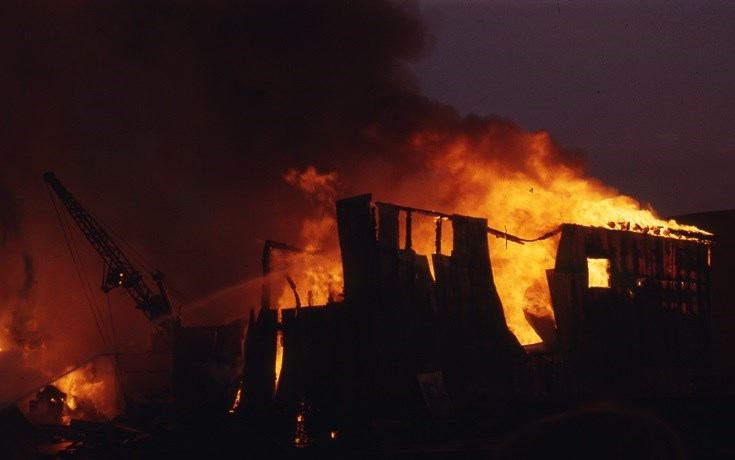 Beaver Lumber Fire in April 1973. Sault Ste. Marie Public Library archive photo
