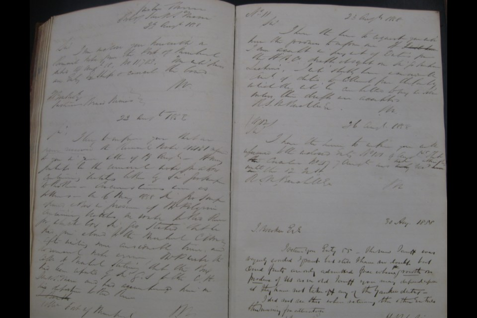 From the Wilson Customs ledgers, circa 1843. Sault Ste. Marie Public Library archive