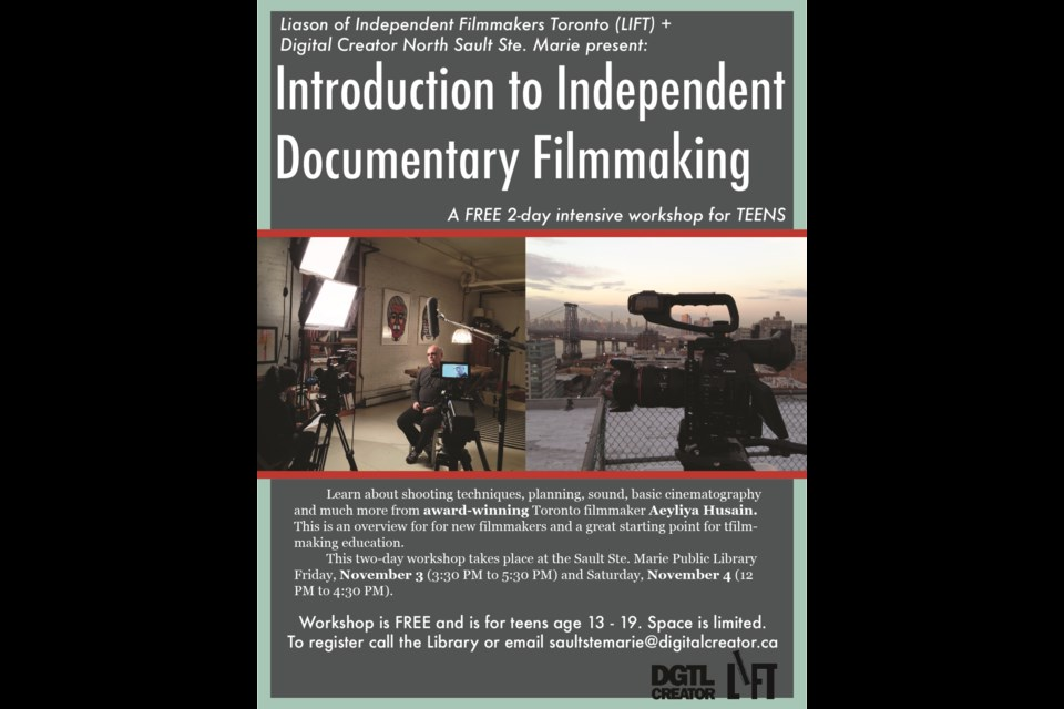 LIFT presents an independent documentary filmmaking workshop for teens hosted by Digital Creator North. Photo provided