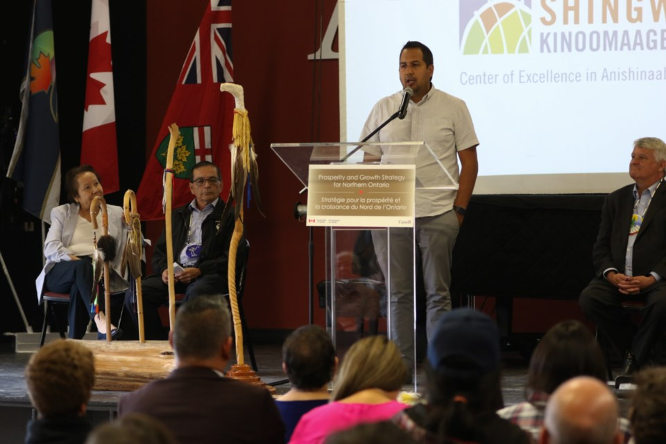 Garden River First Nation Councilor Andy Rickard speaks on behalf of Chief Paul Syrette during a federal funding announcement for the Anishinabek Discovery Centre. James Hopkin/SooToday