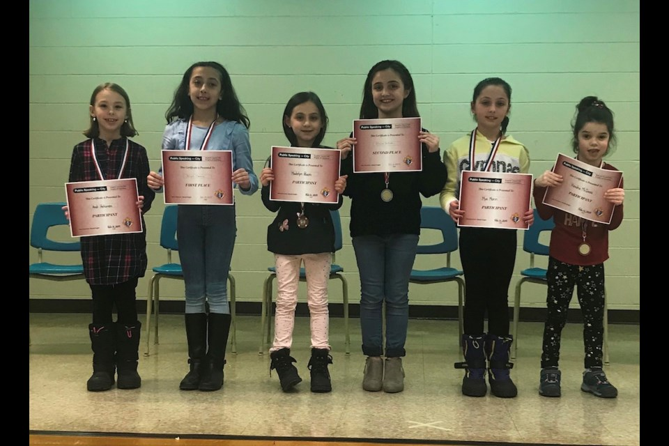 Public Speaking Competition Primary Division. Photo provided by the Huron-Superior Catholic District School Board
