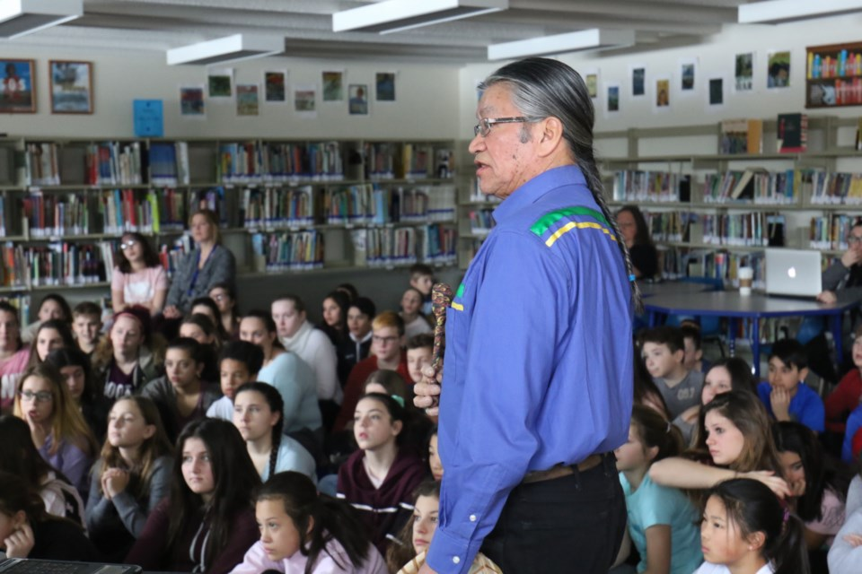 Edmund Metatawabin speaks to students at St. Mary's French Immersion School about his experience at St. Anne's Residential School in Fort Albany, Ont. James Hopkin/SooToday